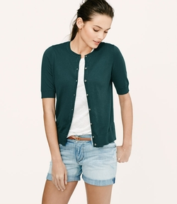 Loft - Petite Short Sleeve Cotton Cardigan