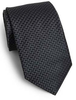 Saks Fifth Avenue Collection - Diamond Print Silk Tie