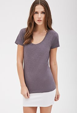 Forever21 - Scoop Neck Slub Knit T-Shirt