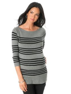 A Pea In The Pod - 3/4 Sleeve Striped Maternity Sweater