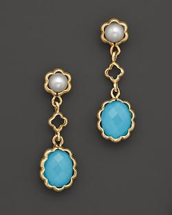 Bloomingdale - 14K Yellow Gold Turquoise Freshwater Pearl Drop Earrings