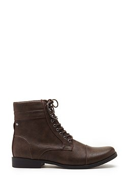 Forever21 - Faux Leather Lace-Up Boots