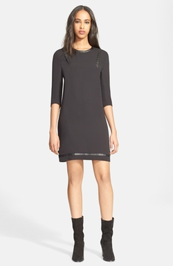 The Kooples  - Studded Faux Leather Trim Crepe Shift Dress