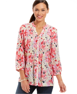 Charter Club - Floral Pintucked Blouse