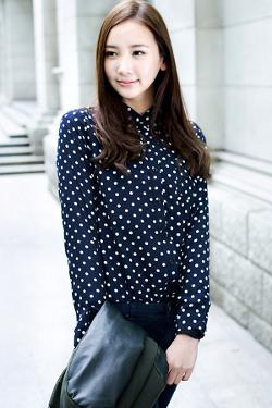OASAP - Polka Dot Long Sleeve Chiffon Shirt