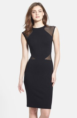 French Connection - Viven Mesh Paneled Sheath Dress