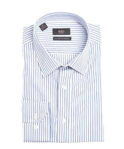 ALARA  - White And Blue Striped Cotton Point Collar Dress Shirt