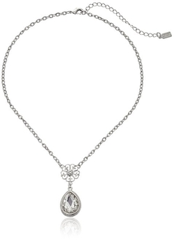 1928 Jewelry - Silver-Tone Crystal Pearshape Pendant Necklace