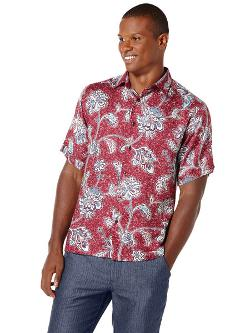 Cubavera - Point Collar Ornamental Print Shirt