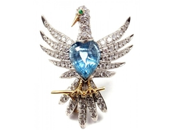 Tiffany & Co Schlumberger  - Phoenix Platinum Diamond Aquamarine Brooch