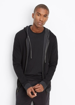 Vince  - Pima Cotton Double Layer Reversible Full Zip Hoodie