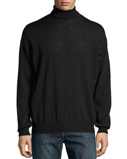 Neiman Marcus  - Lightweight Knit Turtleneck Sweater