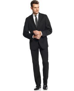 Kenneth Cole Reaction  - Black Tonal Stripe Suit Slim Fit