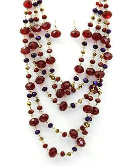 Beautiful Charms Vip Fashion Jewelry  - Multi Layer Aurora Bead Necklace