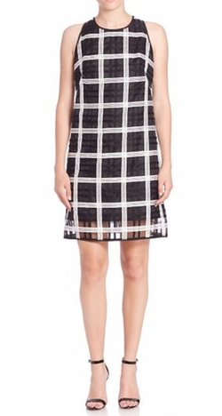 Milly - A-Line Check Shift Dress