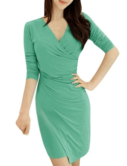 Allegra K - Long Sleeve V Neck Strechy Pullover Dress