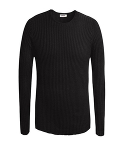 Columbustore - Ribbed Knit Solid Sweater
