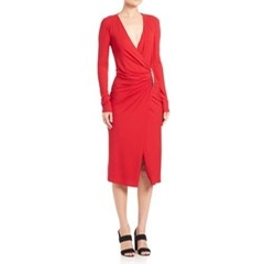 Donna Karan - Draped Long-Sleeve Jersey Dress