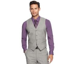 Alfani RED  - Light Grey Sharkskin Slim-Fit Vest