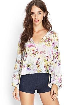 Forever 21 - Cutout Floral Woven Top
