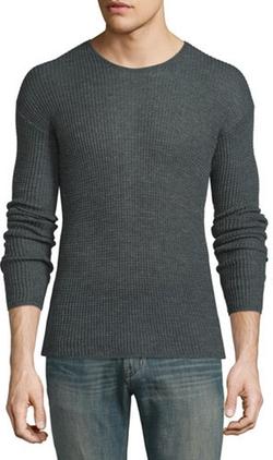 John Varvatos Star USA - Textured Knit Drop-Sleeve Crewneck Sweater