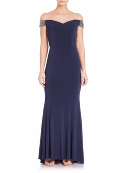 La Femme - Jersey Off-The-Shoulder Beaded Gown