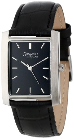 Caravelle by Bulova - Leather Strap Black Dial Watch