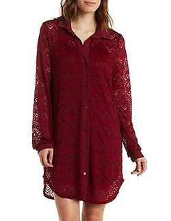 Charlotte Russe - Long Sleeve Lace Shirt Dress