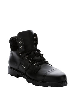 Fendi - Black Calfskin Lug Sole Work Boots
