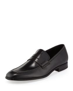 Salvatore Ferragamo - Rocco Leather Penny Loafer, Black