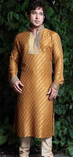 Nihal Fashions - Light Orange Brocade Mens Kurta
