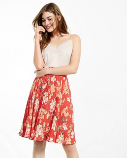 Express - Floral Print Pleated Midi Skirt