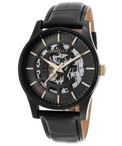 Bulova - Automatic Black Genuine Leather Watch