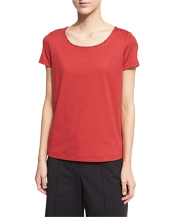 Lafayette 148 New York - Chain-Trim Scoop-Neck Tee