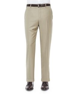 Zanella  - Flat-Front Wool Trousers