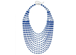 Bar III  - Silver-Tone Blue Bead Multi-Row Statement Necklace