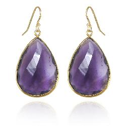 Pradman Jewelry - AMETHYST GOLD EARRINGS - TEARDROP DROP DANGLE GEMSTONE JEWELRY