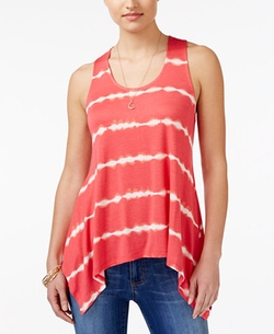 Ultra Flirt  - Striped Asymmetrical-Hem Tank Top
