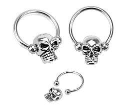 Playful Piercings - Pair of Skull Skeleton Hoop Piercing