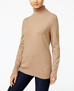 Jm Collection - Button-Cuff Turtleneck Sweater