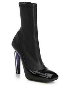 Alexander McQueen  - Leather Lacquered-Heel Boots