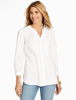 Talbots - Dotted Swiss Popover Top