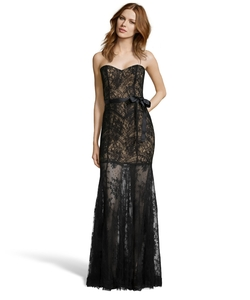 Hayden - Stretch Floral Lace Mesh Strapless Evening Gown