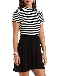 Charlotte Russe - Striped Mock Neck Layered Illusion Dress