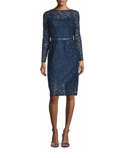 Monique Lhuillier - Long-Sleeve Lace Cocktail Dress