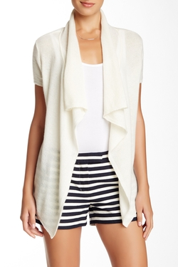 In Cashmere - Open Front Short Sleeve Cardigan