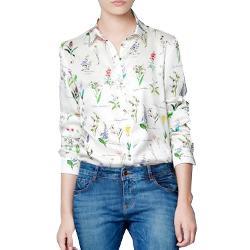 Zehui - Womens Lapel Long Sleeve Floral Button Shirt Blouse Tops T-shirt Chiffon