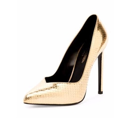Saint Laurent - Paris Notched Python-Embossed Pumps