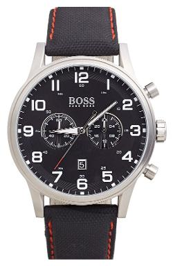 Hugo Boss - Chronograph Textured Leather Strap Watch