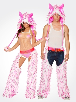 Rave Ready - White and Pink Spiked Fur Chaps